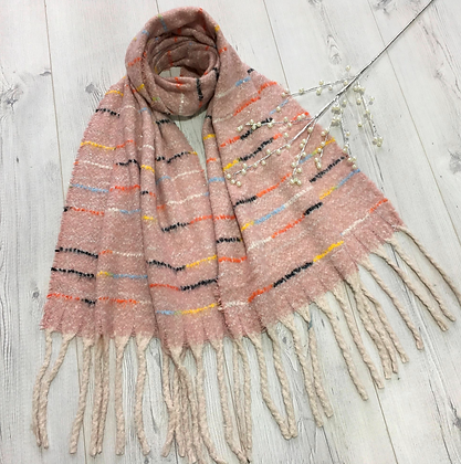 Soft Touch Tassel Scarf - Baby pink
