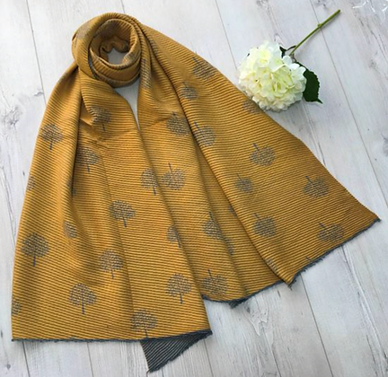 Tree Patterned Two tone Soft Crinkle Winter Scarf - Mustard