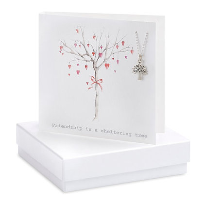 Heart tree friendship card & pendant necklace