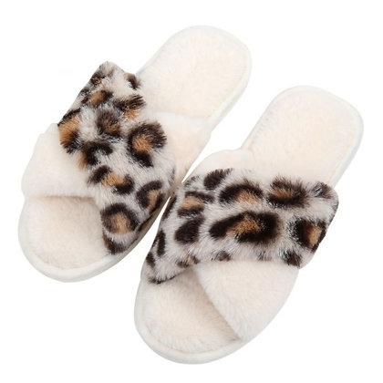 Leopard Print Slippers CREAM Size 5-6