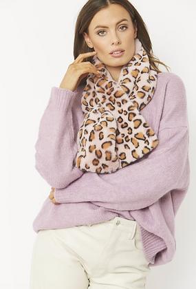 Reversible Animal Print Faux Fur Scarf - pink