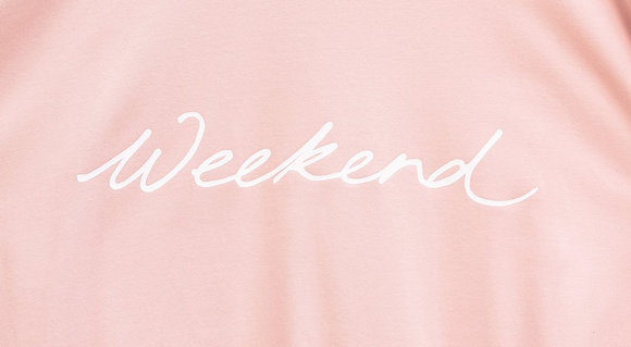 "CHALK Robyn Pink Top With Wording ""Weekend"" in White"