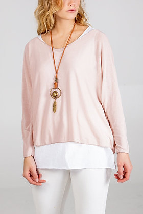 Layered Top with Necklace - BLUSH