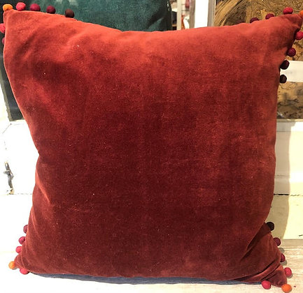 Walton Blood Red Pom Pom Cushion