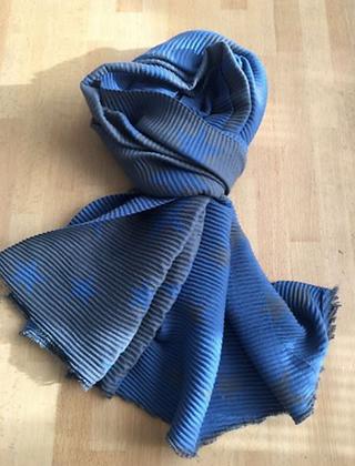 Star Print Crumple Scarf - Blue and grey