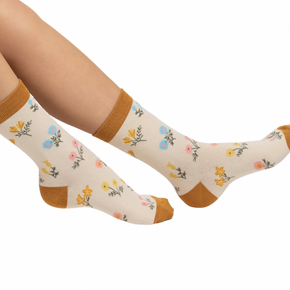 Miss Sparrow Pink Dainty Floral Print Bamboo Socks