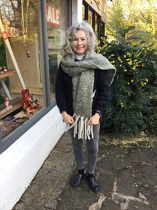 Chunky Knitted Scarf - Sage Green