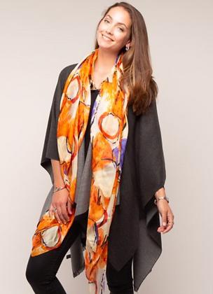 Orange Patterned Large Silk Scarf