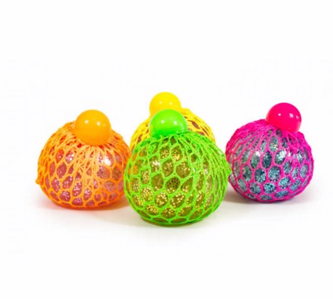 JELLY SQUEEZE BALL 6CM WITH GLITTER LIGHT UP