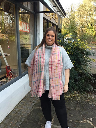 Chunky Knitted Scarf - Pink Multi Check
