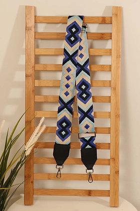 Aztec Print Bag Strap BLUE MIX