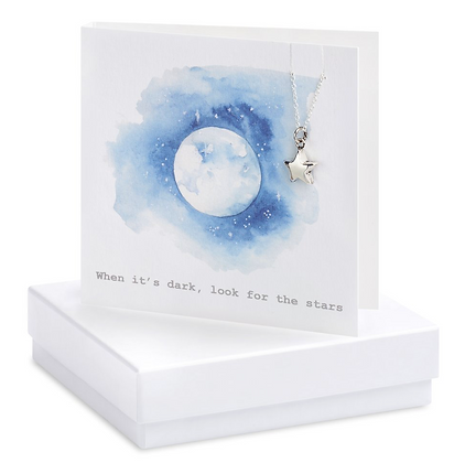 Boxed Moon & Stars Necklace Card