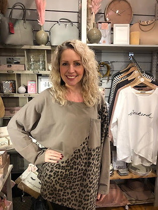 Loose Fit Taupe & Animal Long Top