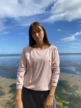 CHALK Holly Top -  PINK WITH DARK GREY HEART