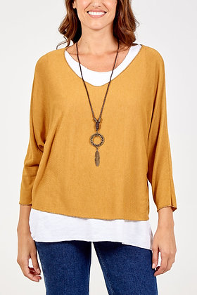 Layered Top with Necklace - MUSTARD