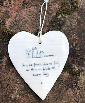 EAST OF INDIA Porcelain Hanging Heart Friends