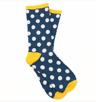 Navy bamboo socks with polkadots and lurex