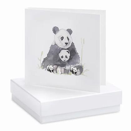 Panda Card and Stud Earring Set