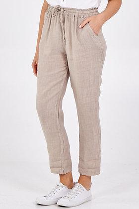 Linen Drawstring Trousers STONE