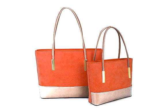 ORANGE Two Tone Shopper - LARGE