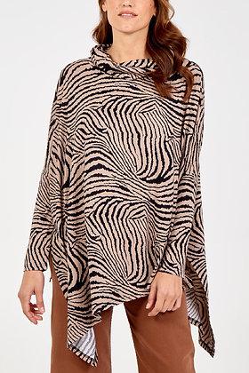 Zebra Print Cowl Neck Top S/M