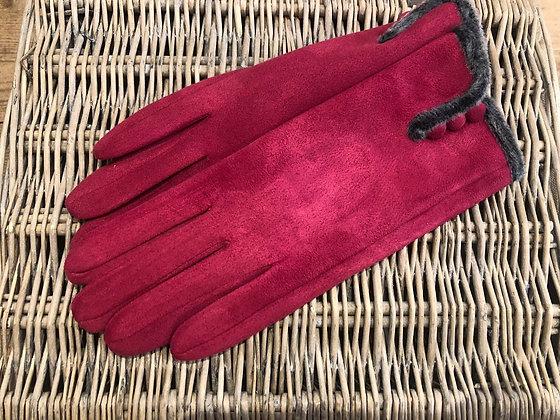 Faux Fur Trim Button Gloves - DARK PINK