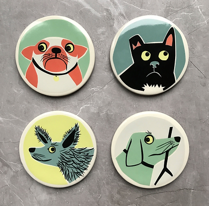 Hannah Turner - Handmade Ceramic Dog Coasters Box Set Of 4