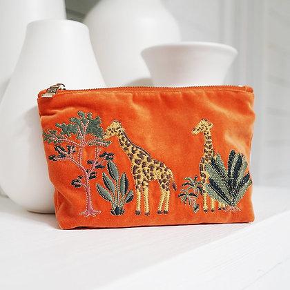 Giraffe Velvet Makeup Bag by ELIZABETH SCARLETT