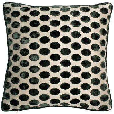 Polka dot cut velvet feather filled cushion