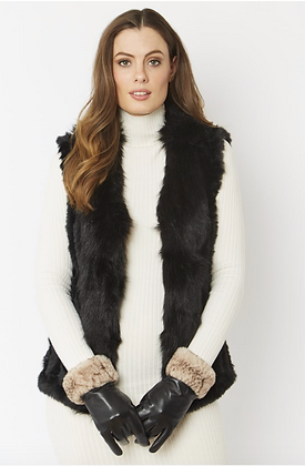 Leather Gloves With Faux Fur Trim - Mocha