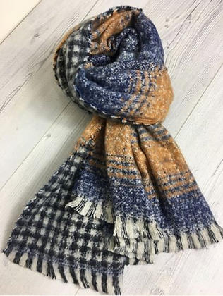 Soft Touch Oversized Scarf - orange and blue
