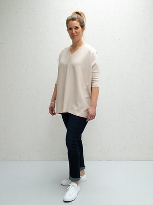 CHALK Clara V-Neck Jumper STONE