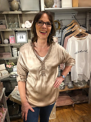 Taupe Satin Top with V-Neck Eyelet