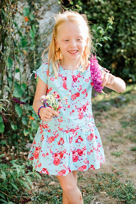 Flora Dress - Turquoise and Pink Rose Print