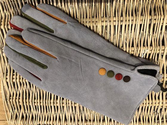Contrast Button & Finger Detail Gloves - GREY