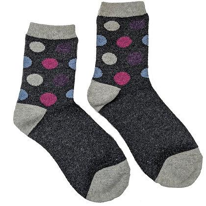 Purple Big Spot Wool Blend Socks