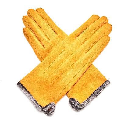 Faux Fur Trim Gloves -MUSTARD