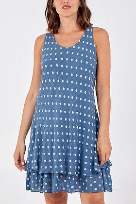 Polka Dot Sleeveless Dress DENIM BLUE