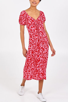 Square Neck Ruched Bust Midi Dress - PINK