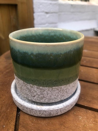 CHIVE Green and Stone Planter and Tray