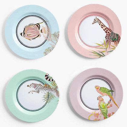 YVONNE ELLEN Safari Picnic Dinner Plates, Set of 4