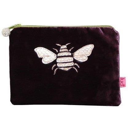 Gold Bee Velvet Purse -BURGUNDY