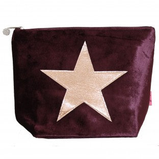 Velvet Star Large Cosmetics Purse - Burgundy