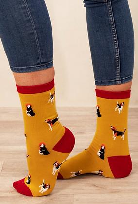 Mustard Dog Bamboo Socks