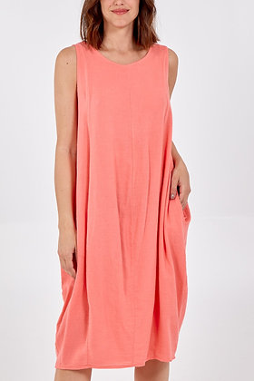 Round Neck Two Pocket Linen Dress CORAL