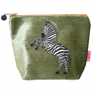Dancing Zebra Small Cosmetic Purse - SAGE