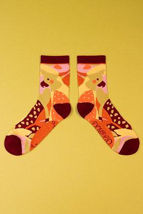 Ladies Ankle Socks Modern Parrot