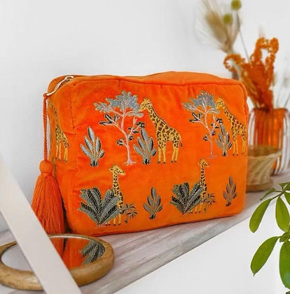 Giraffe Velvet Wash Bag by ELIZABETH SCARLETT