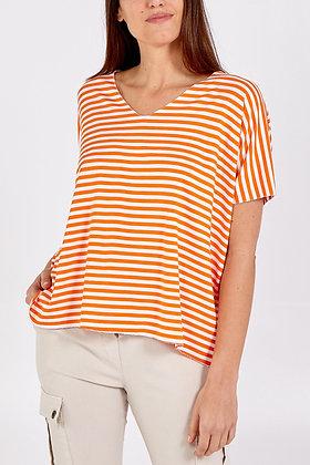 V - Neck Striped T- Shirt - ORANGE