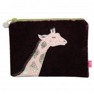 Giraffe Velvet Purse - BURGUNDY